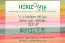 COLEGIO HORIZONTE DE LOBOS SALUDA Y LES DESEA FELIZ 2020