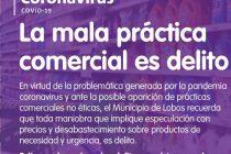 CORONAVIRUS: LA MALA PRÁCTICA COMERCIAL ES DELITO