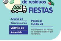 DÍAS DE RECOLECCIÓN DE RESIDUOS PARA ESTAS FIESTAS