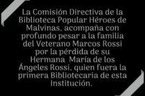 BIBLIOTECA DE HÉROES DE MALVINAS SE SUMA AL DOLOR DE LA FAMILIA DE MARÍA DE LOS ÁNGELES ROSSI